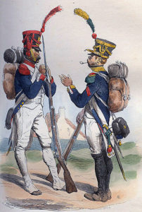 Grenadierand Voltigeur of a French Line Regiment: Battle of the Pyrenees fought between 25th July and 2nd August 1813 in the western Pyrenees Mountains, during the Peninsular War: picture by Bellangé