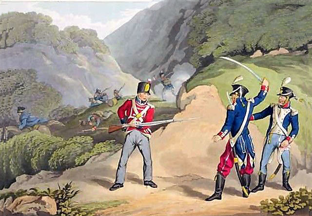 British soldier capturing 2 French officers: Battle of the Pyrenees fought between 25th July and 2nd August 1813 in the western Pyrenees Mountains, during the Peninsular War: picture by John Augustus Atkinson