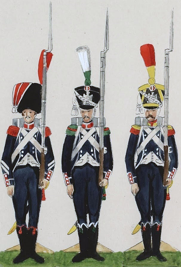 Carabinier, Chasseur and Voltigeur of the French 25th Light; Battle of the Pyrenees fought between 25th July and 2nd August 1813 in the western Pyrenees Mountains, during the Peninsular War