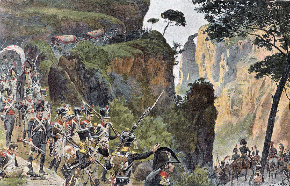 French troops in the mountains: Battle of the Pyrenees fought between 25th July and 2nd August 1813 in the western Pyrenees Mountains, during the Peninsular War