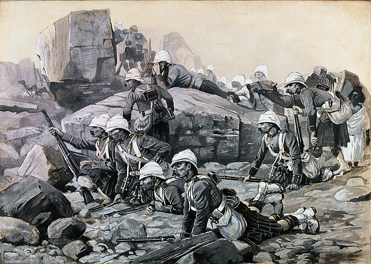 Reconnaissance patrol of Gordon Highlanders: Battle of Tamai on 13th March 1884 in the Sudanese War: picture by Melton Pryor