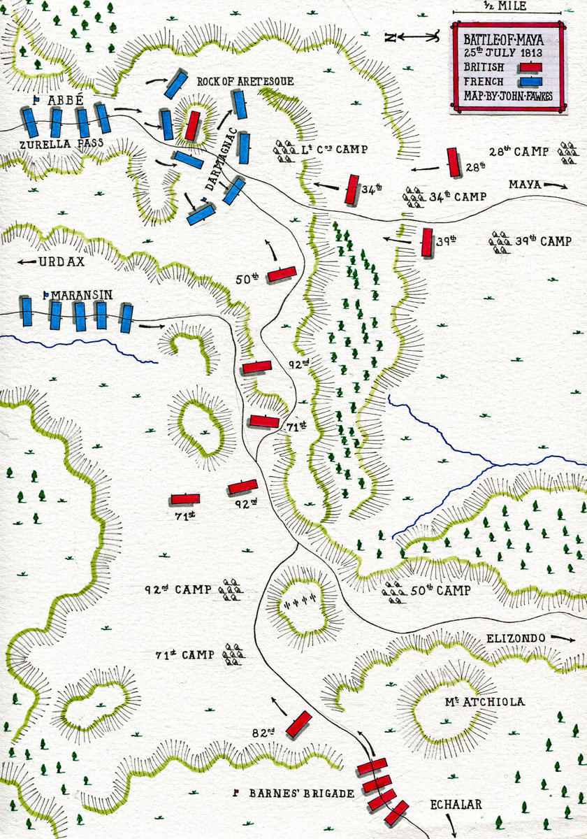 Map of the Battle of Maya on 25th July 1813: Battle of the Pyrenees fought between 25th July and 2nd August 1813 in the western Pyrenees Mountains, during the Peninsular War: map by John Fawkes