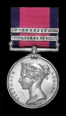 Military General Service Medal 1847 with clasp for the Battle of the Pyrenees fought between 25th July and 2nd August 1813 in the western Pyrenees Mountains, during the Peninsular War