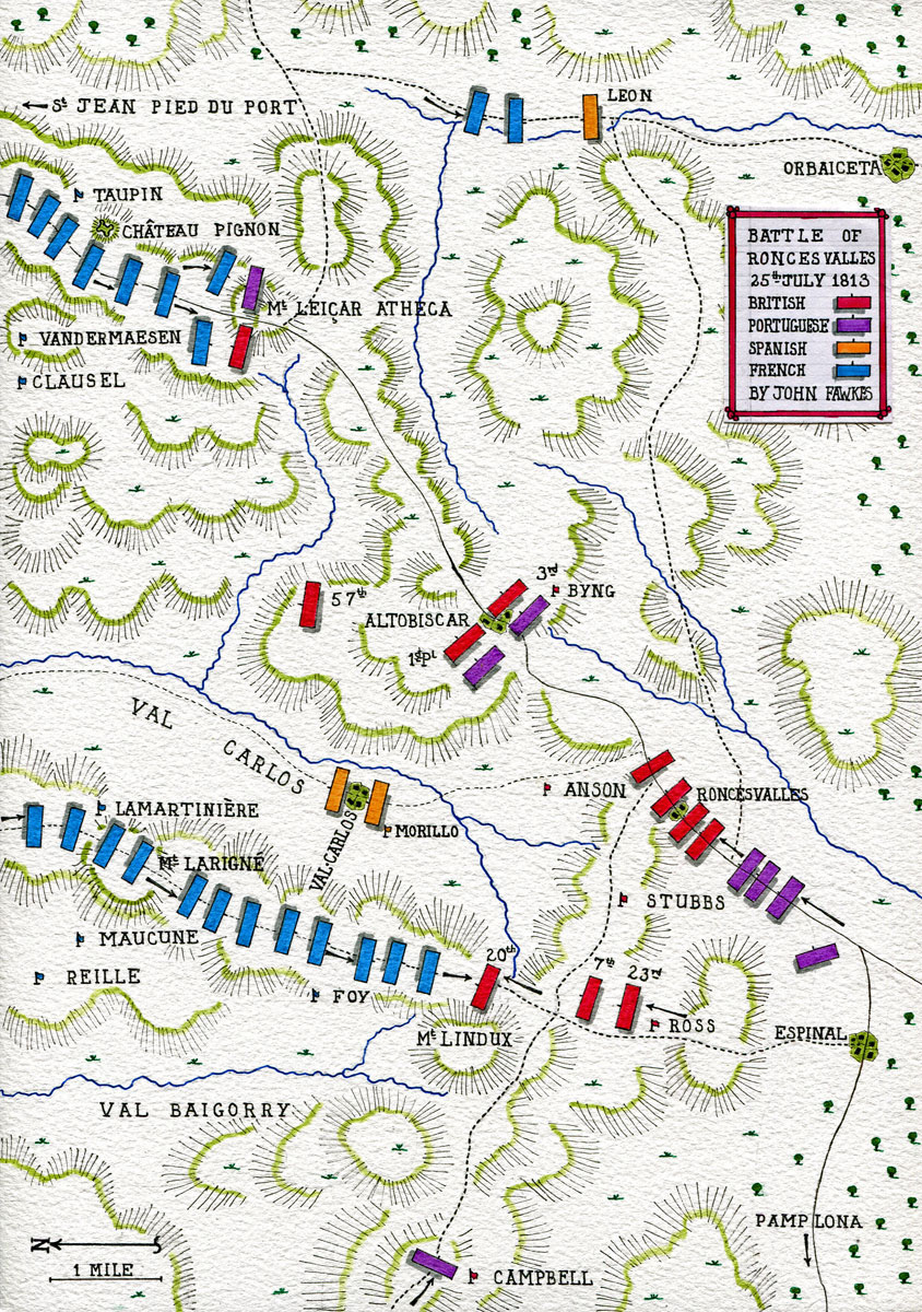 Battle of Roncesvalles on 25th July 1813: Battle of the Pyrenees fought between 25th July and 2nd August 1813 in the western Pyrenees Mountains, during the Peninsular War: map by John Fawkes