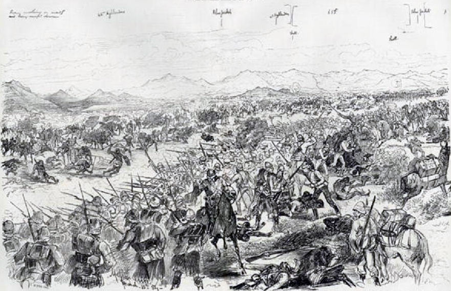 Battle of Tamai on 13th March 1884 in the Sudanese War: drawing by Melton Pryor