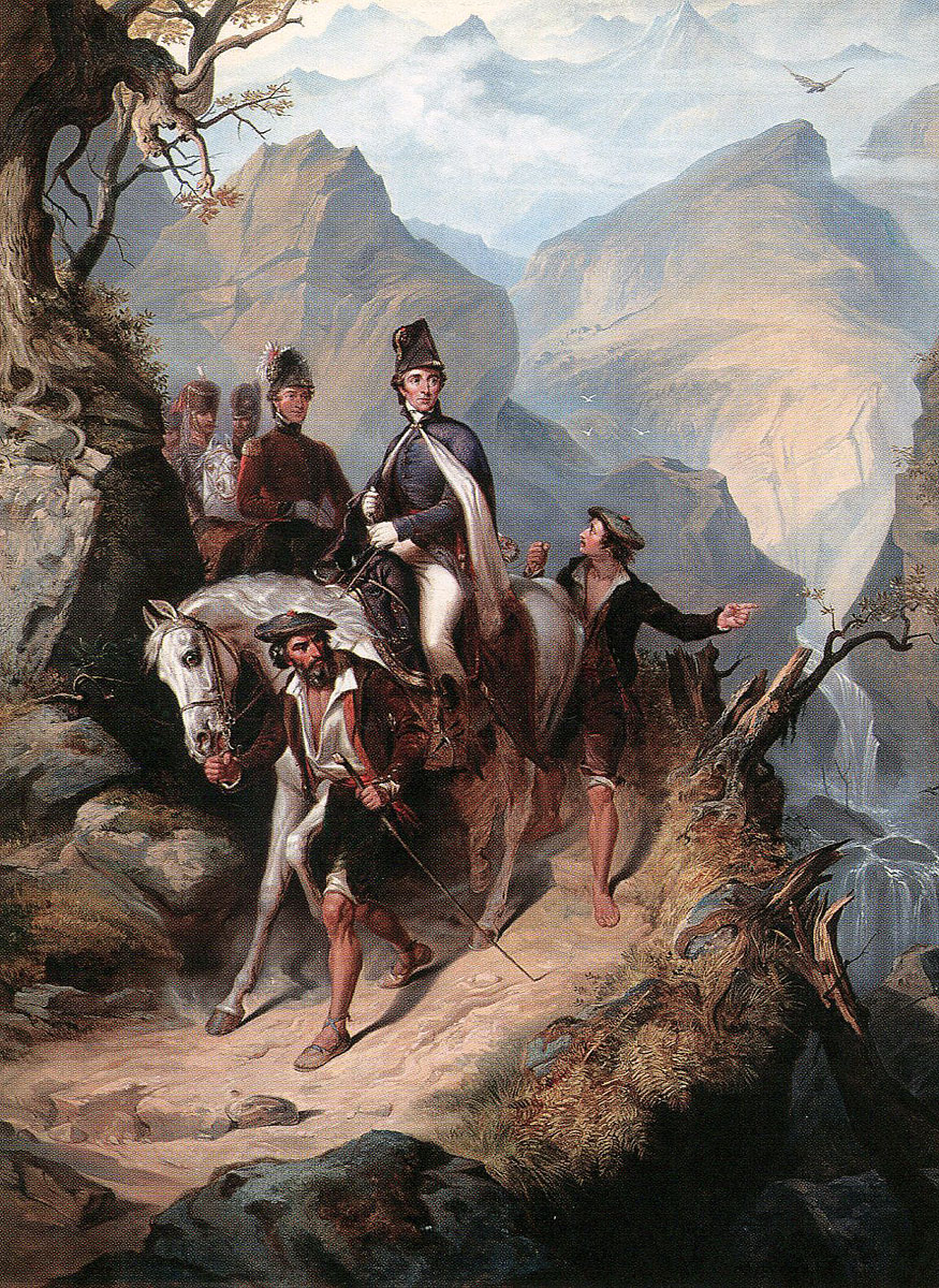 Wellington in the mountains during the Battle of the Pyrenees fought between 25th July and 2nd August 1813 in the western Pyrenees Mountains, during the Peninsular War