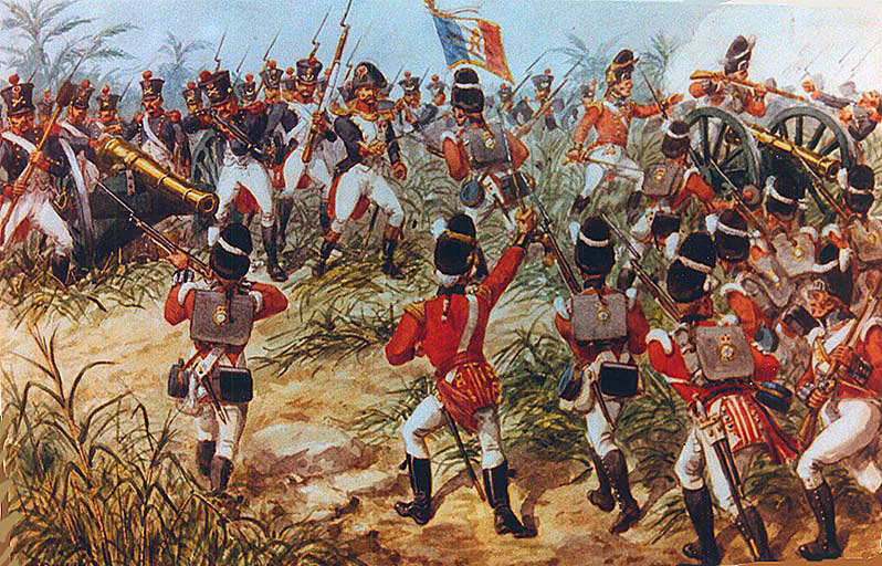 7th Fusiliers at the Battle of Albuera on 16th May 1811 in the Peninsular War: picture by Richard Simkin