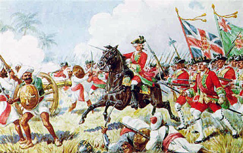 39th Regiment at the Battle of Plassey on 23rd June 1757 in the Anglo-French Wars in India: picture by Richard Simkin