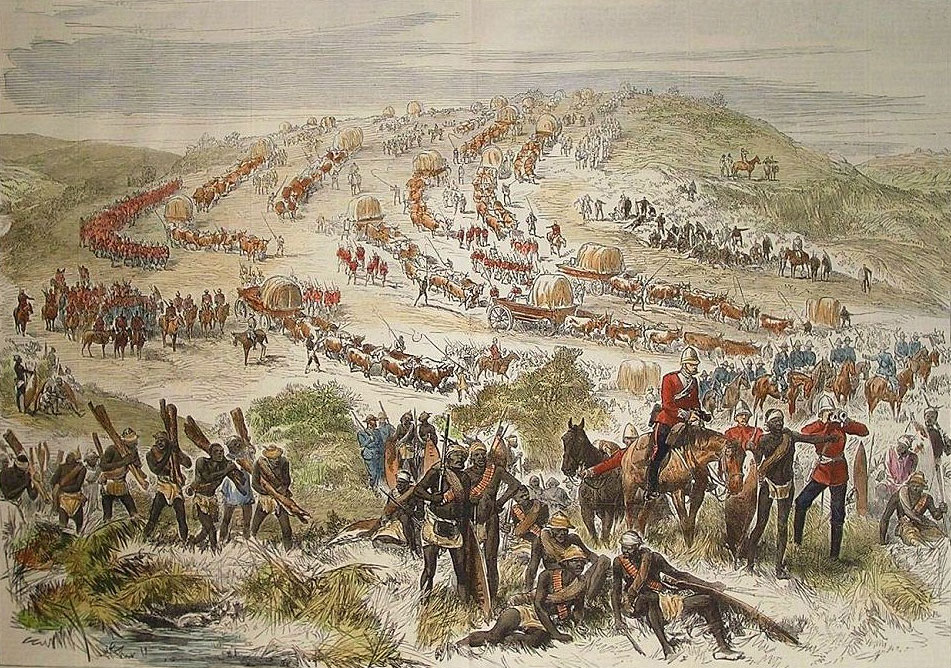Chelmsford's march to relieve Eshowe: Battle of Gingindlovu on 2nd April 1879 in the Zulu War: picture by Melton Pryor