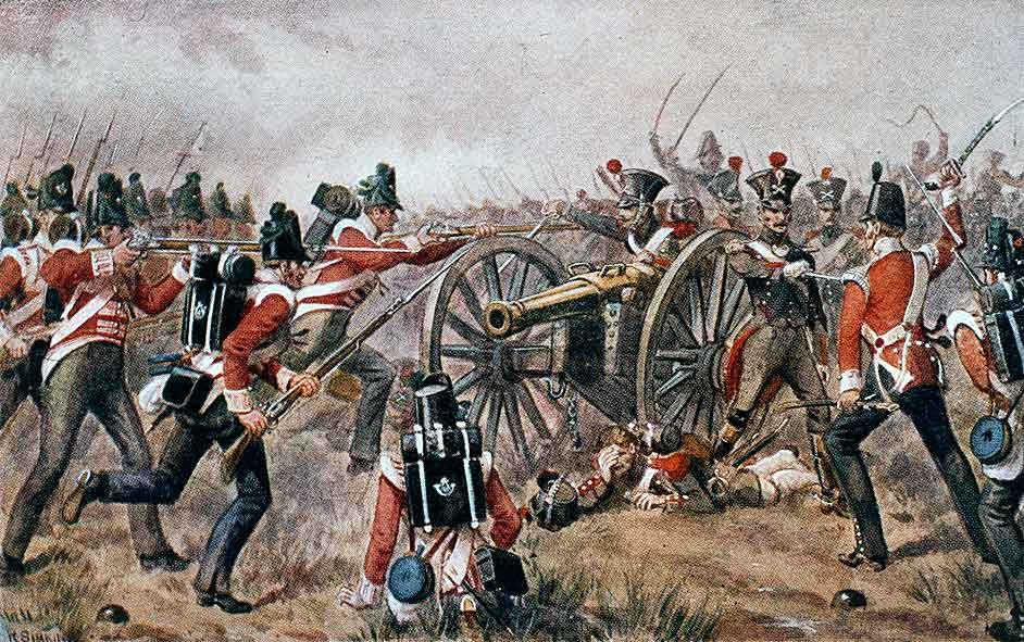 British 43rd Light Infantry fighting for the French howitzer at the Battle of Sabugal on 3rd April 1811 in the Peninsular War: picture by Richard Simkin