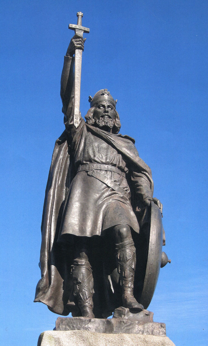 Statue of King Alfred in Winchester: Battle of Ashdown 8th January 871 AD in the Danish Wars: photo by Tim Dalzyell