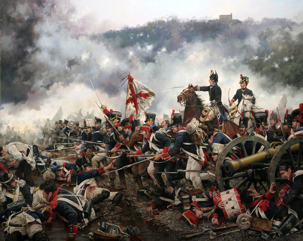 Spanish troops defending Mount San Marcial at the Battle of San Marcial on 31st August 1813 in the Peninsular War: picture by Augusto Ferrer Dalmau