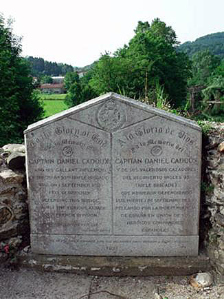 Memorial to Captain Daniel Cadoux: Battle of San Marcial 31st August-1st September 1813 in the Peninsular War