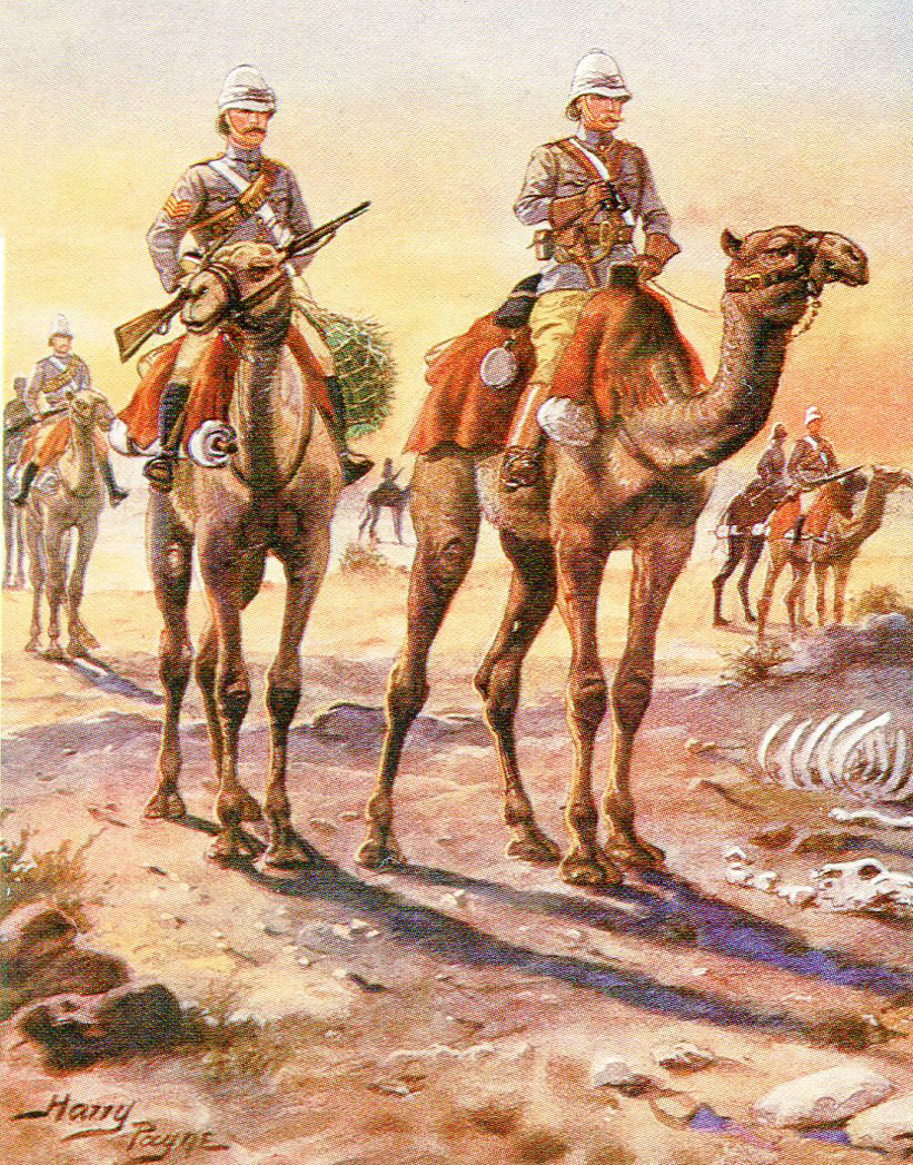 Light Camel Corps: Battle of Abu Klea fought on 17th January 1884 in the Sudanese War:picture by Harry Payne