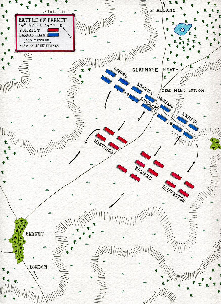 Map of the Battle of Barnet on 14th April 1471 in the Wars of the Roses: map by John Fawkes