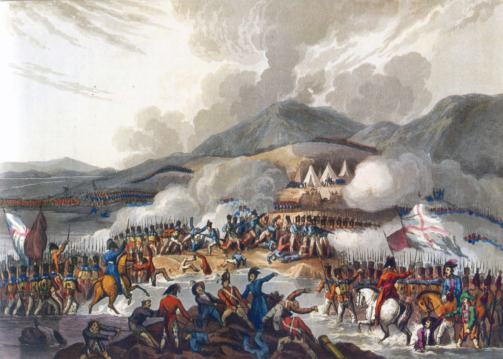 Battle of the Bidassoa on 7th October 1813 during the Peninsular War: picture by J.J. Jenkins