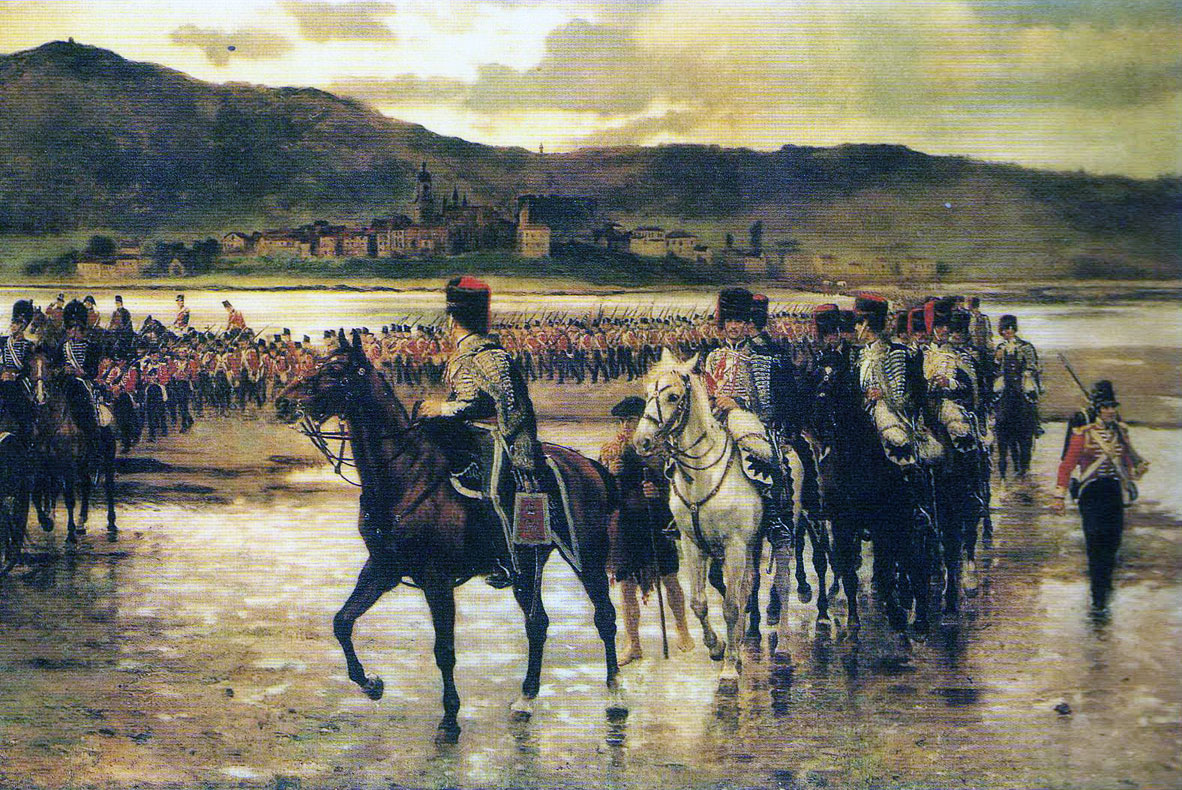 British column crossing the Bidassoa Estuary in the Battle of the Bidassoa on 7th October 1813 during the Peninsular War: picture by J.P. Beadle