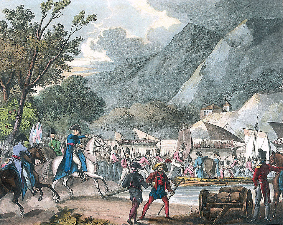 Passage of the Bidassoa River at the Battle of the Bidassoa on 7th October 1813 during the Peninsular War: picture by William Heath