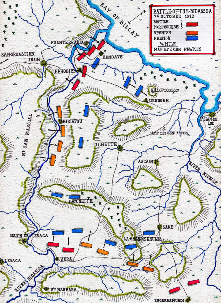 Map of the Battle of the Bidassoa on 7th October 1813 during the Peninsular War: Map by John Fawkes