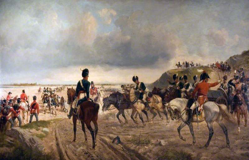 Passage of the Bidassoa River by British Horse Artillery and Infantry at the Battle of the Bidassoa on 7th October 1813 during the Peninsular War: picture by Richard Beavis