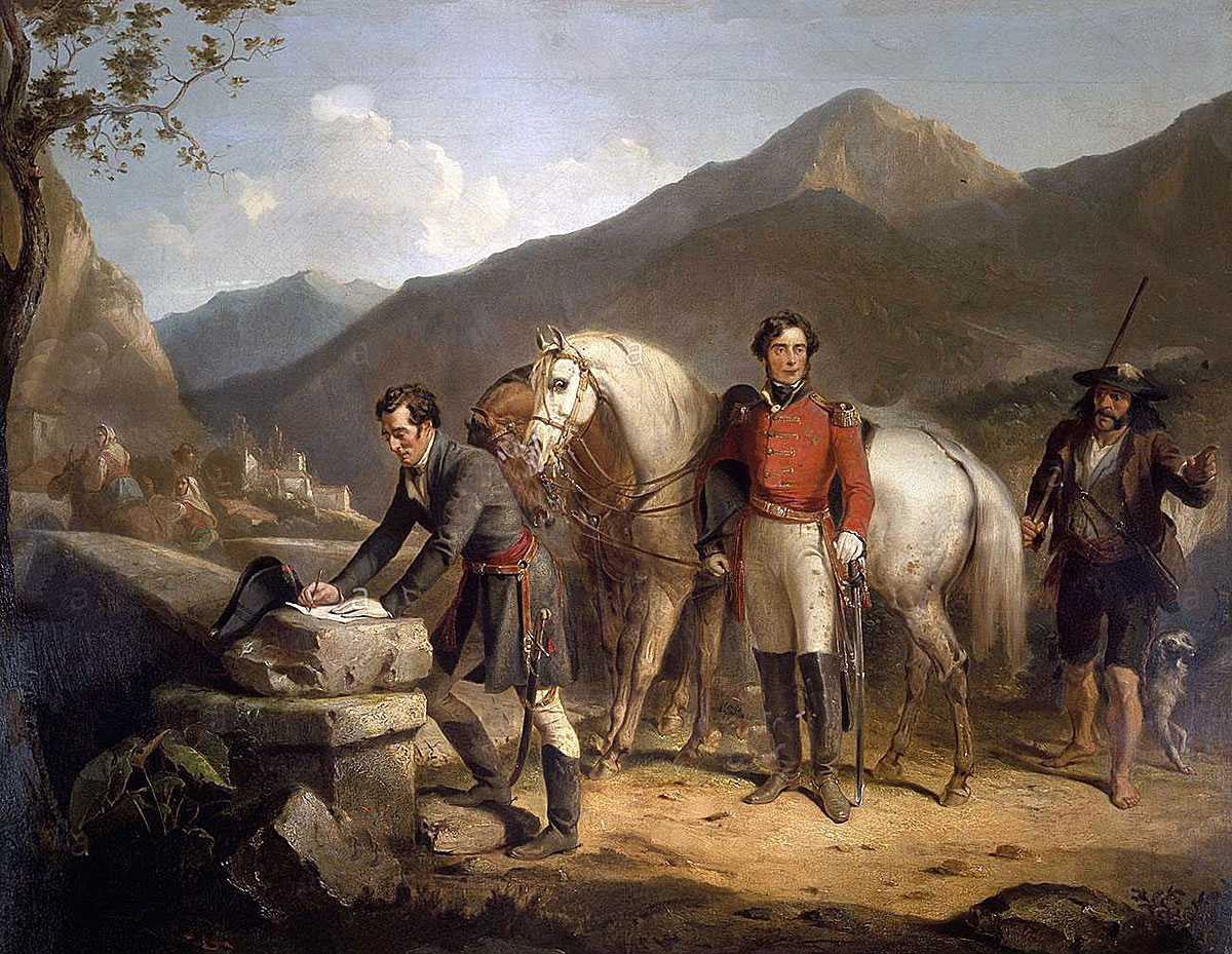 Wellington and Somerset at the Bridge in Sorauren on 27th July 1813: Battle of the Pyrenees fought between 25th July and 2nd August 1813 in the western Pyrenees Mountains, during the Peninsular War: picture by Thomas Jones Barker