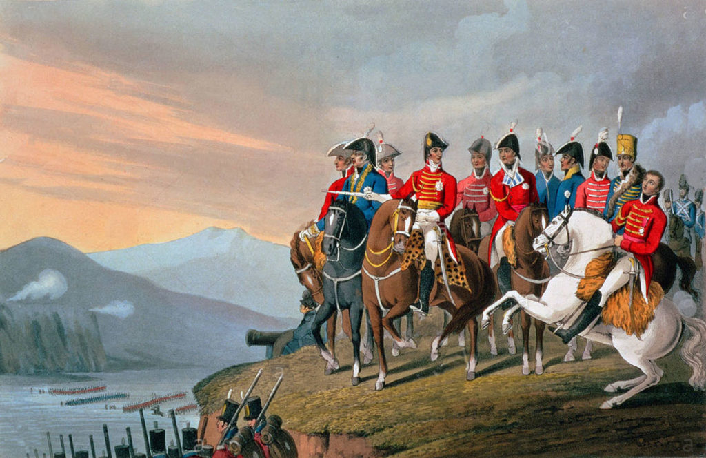 The Duke of Wellington and his staff crossing the Bidassoa River into France at the Battle of the Bidassoa on 7th October 1813 during the Peninsular War