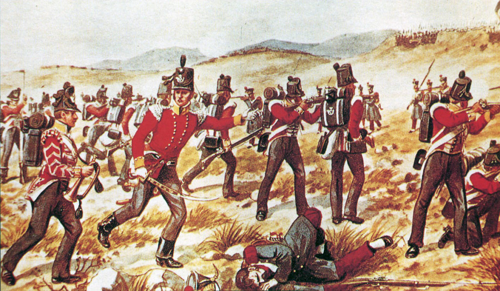 85th Light Infantry at the Battle of the Nivelle on 10th November 1813 during the Peninsular War: picture by Richard Simkin