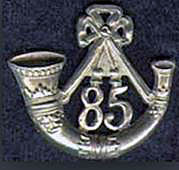 Badge of the British 85th Light Infantry: Battle of St Pierre fought on 13th December 1813 as part of the Battle of the Nive in the Peninsular War