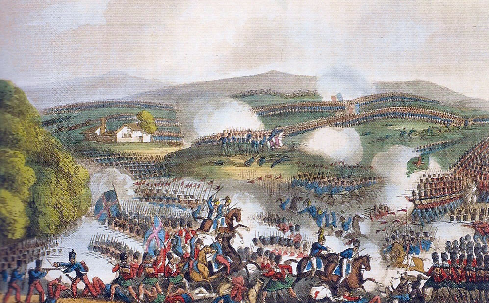 Battle of Quatre Bras on 16th June 1815 during the Napoleonic Wars: picture by William Heath