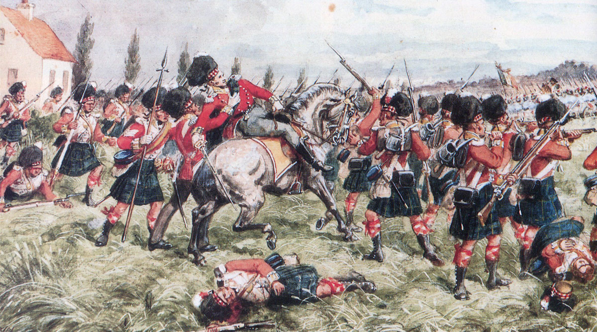 Death of Colonel John Cameron of Fassiefern leading the 92nd Highlanders at the Battle of Quatre Bras on 16th June 1815 during the Napoleonic Wars: picture by Richard Simkin
