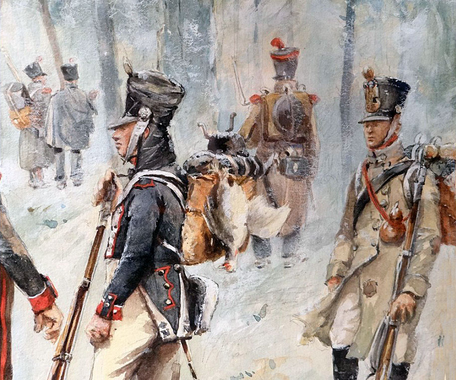 French Infantry in the winter: Battle of the Nive fought between 9th and 13th December 1813 in the Peninsular War