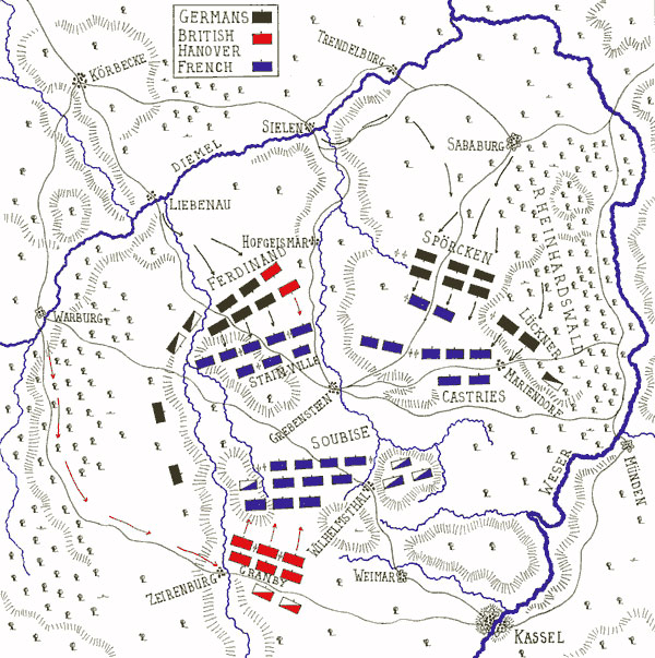 Map of the Battle of Wilhelmstahl on 24th June 1762 in the Seven Years War: map by John Fawkes