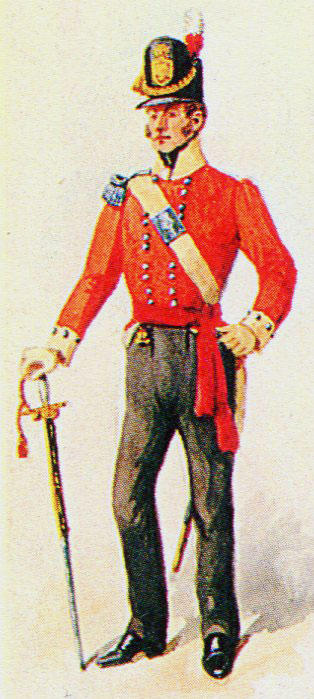 Officer of the 3rd Old Buffs: Battle of the Nive fought between 9th and 13th December 1813 in the Peninsular War: picture by Richard Simkin