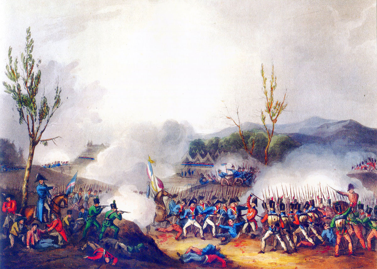 Battle of St Pierre on 13th December 1813 during the Battle of the Nive, fought from 9th to 13th December 1813 in the Peninsular War: picture by J.J. Jenkins