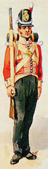 Soldier of the 3rd Old Buffs: Battle of the Nive fought between 9th and 13th December 1813 in the Peninsular War: picture by Richard Simkin