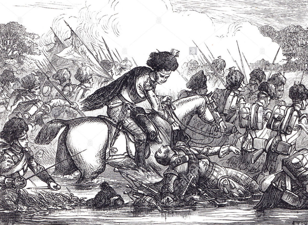 Colonel John Cameron and the 92nd Gordon Highlanders crossing the River Nive during the Battle of St Pierre fought on 13th December 1813 as part of the Battle of the Nive in the Peninsular War: Colonel Cameron is shown rescuing a wounded piper of the regiment