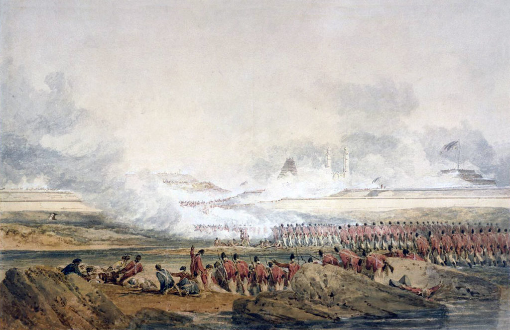 Assault columns crossing the Little Cavery River at the Storming of Seringapatam on 4th May 1799 in the Fourth Mysorean War: picture by  William Mallord Turner