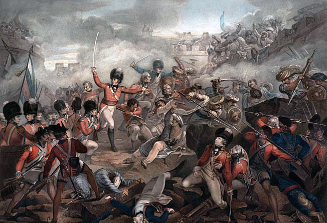 Colonel Sherbrooke leads his men into the breach at the Storming of Seringapatam on 4th May 1799 in the Fourth Mysorean War