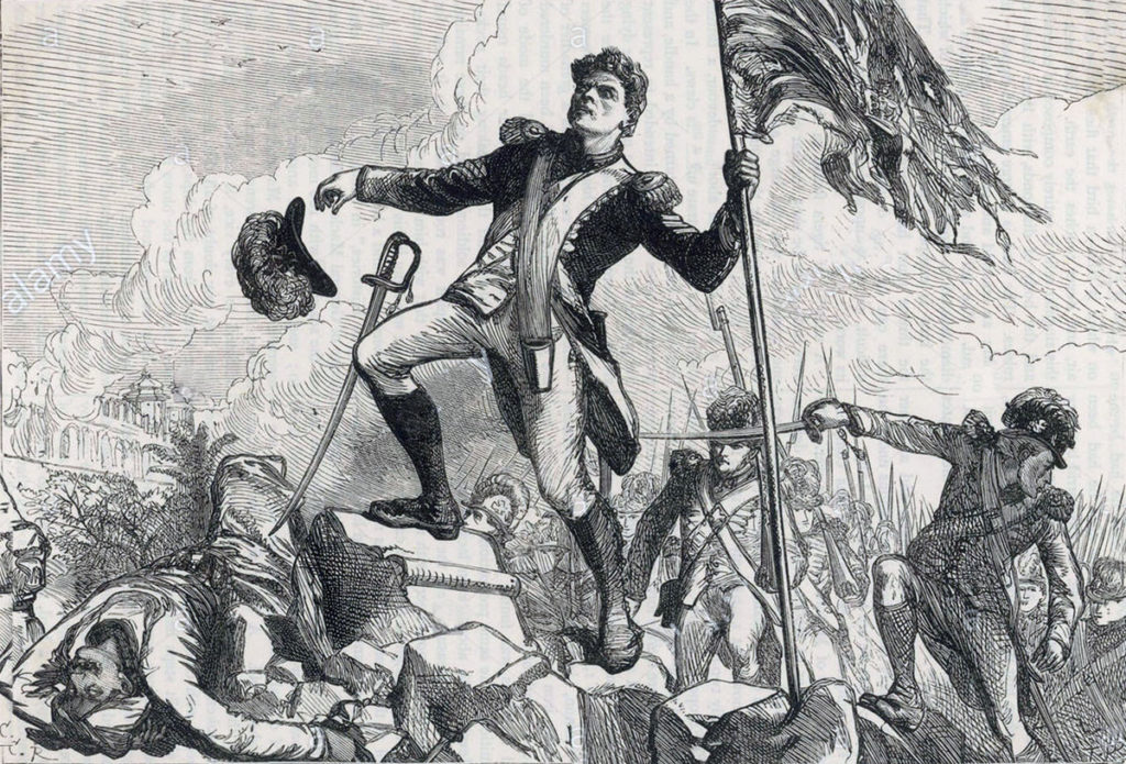 Lieutenant Graham plants the colour at the top of the breach at the Storming of Seringapatam on 4th May 1799 in the Fourth Mysore War