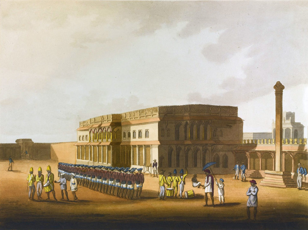 British Sepoys outside Tipu Sultan's palace in Bangalore:  Storming of Seringapatam on 4th May 1799 in the Fourth Mysorean War