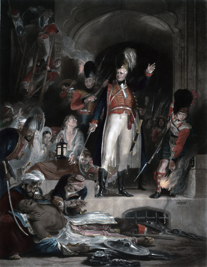 Sir David Baird discovering the body of Tipu Sultan after the Storming of Seringapatam on 4th May 1799 in the Fourth Mysorean War