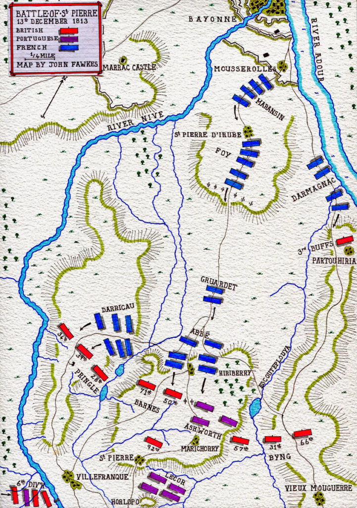Map of the Battle of St Pierre on 13th December 1813 during the Battle of the Nive, fought from 9th to 13th December 1813 in the Peninsular War: map by John Fawkes