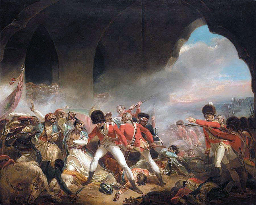 Death of Tipu Sultan during the Storming of Seringapatam on 4th May 1799 in the Fourth Mysorean War: picture by John Singleton Copley