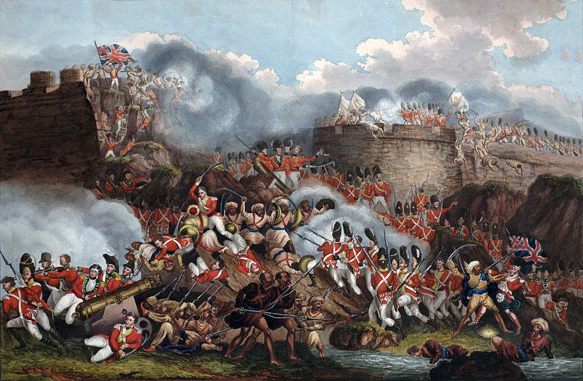 British troops attacking the breach at the Storming of Seringapatam on 4th May 1799 in the Fourth Mysorean War