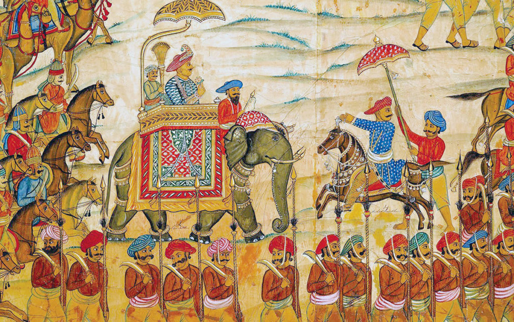Tipu Sultan riding into battle on his elephant:  Storming of Seringapatam on 4th May 1799 in the Fourth Mysorean War