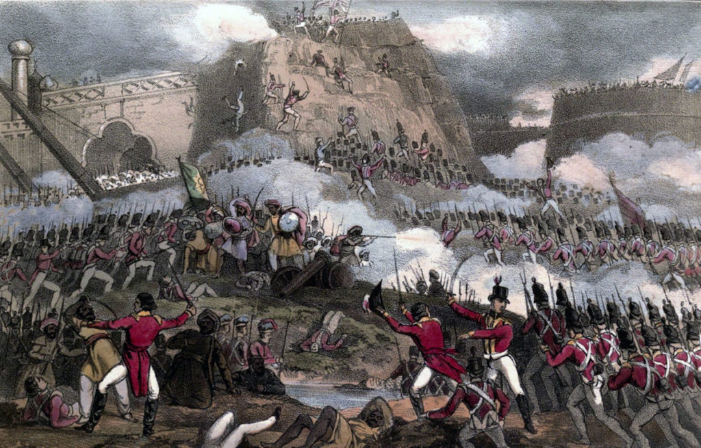 British 12th Regiment attacking the breach at the Storming of Seringapatam on 4th May 1799 in the Fourth Mysorean War