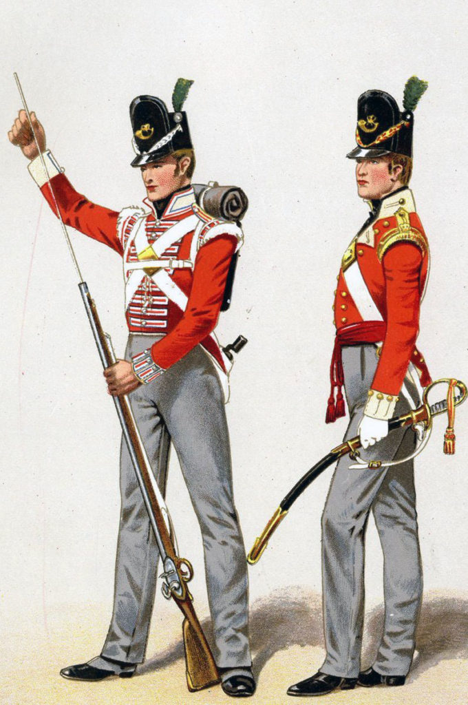 Soldier and Officer of British Light Infantry: Battle of Orthez on 27th February 1814 in the Peninsular War
