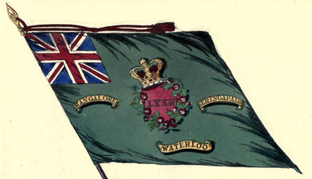 Regimental Colour of 73rd Highlanders showing 'Seringapatam' Battle Honour: Storming of Seringapatam on 4th May 1799 in the Fourth Mysore War