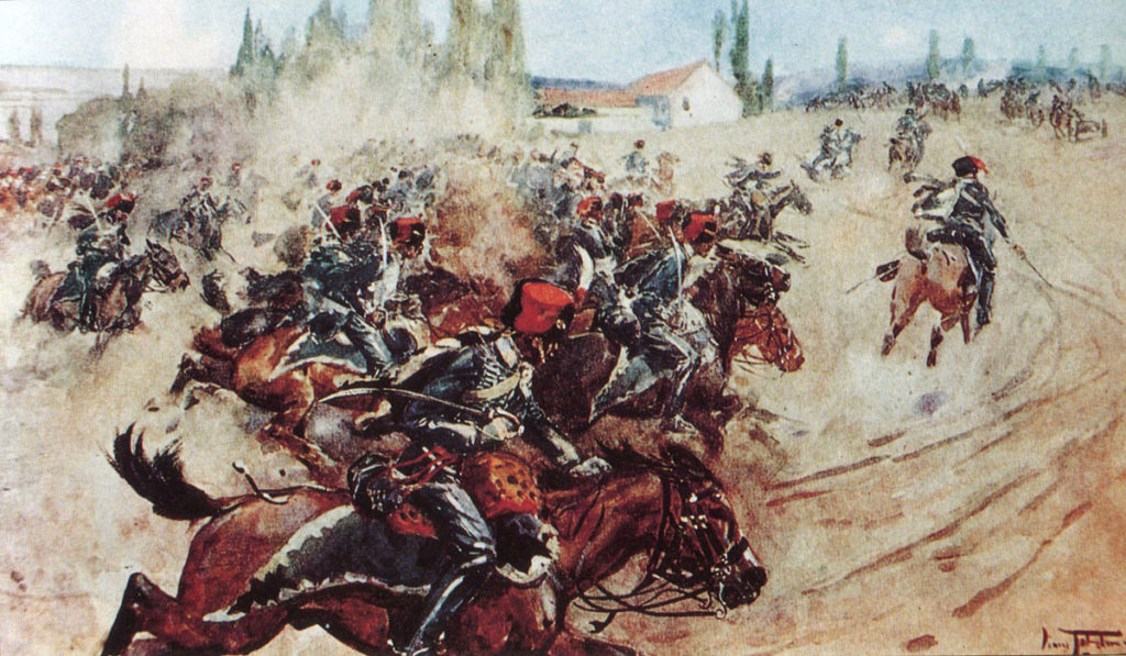 Charge of the 7th Queen's Hussars at the Battle of Orthez on 27th February 1814 in the Peninsular War
