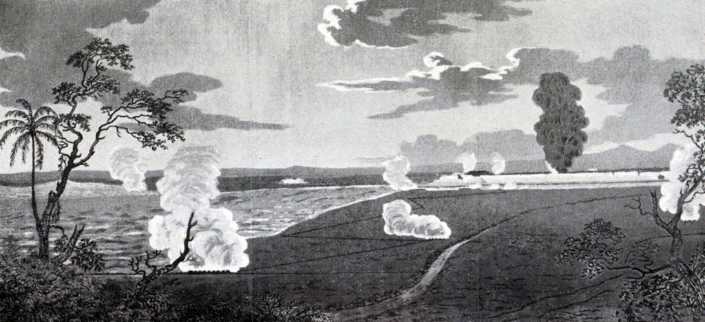 North West front of Seringapatam fortress, showing the Approaches, Batteries, the Breach and the Explosion of the Rocket Magazine: Storming of Seringapatam on 4th May 1799 in the Fourth Mysore War: contemporary illustration by Colonel Beatson